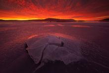dawn, sunrise, ice, patrick zephyr, quabbin reservoir, Massachusetts, winter, fire, New Salem,