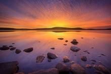 quabbin reservoir, massachusetts, sunrise. rocks,