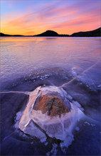 Quabbin reservoir, ice winter, rock, sunrise