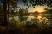 harvard pond, petersham, Massachusetts, patrick zephyr, landscape photography, sunrsie, dawn, islands, lake