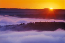 quabbin reservoir, massachusetts, sunrise, orange, fog