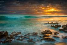 ocean, florida, waves, rocks, surf, dawn, sunrise, storm, coral cove state park, patrick zephyr