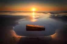 Hampton beach, New Hampshire, rock, sunrise, ocean, beach