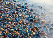 Rocks, sunrise, surf, cohasset, massachusetts