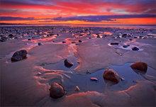 Wells beach, sunrise, Maine, ocean,