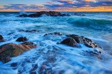 Cohasset, Massachusetts, ocean, sunset, waves, surf