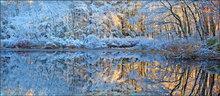 Reflection, winter, gold, Pelham, Massachusetts,