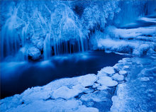 ice, winter, blue, waterfall, cascade