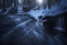 cascade, waterfall, winter, Pelham, Massachusetts, Patrick Zephyr, dawn, sunrise, ice, blue