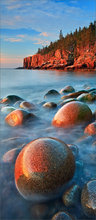 Acadia national park, Maine, cobblestones, blue, ocean, sunrise