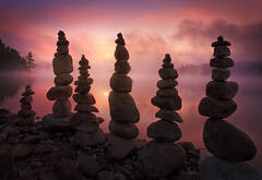 balancing rocks, cairns, stone, quabbin reservoir, massachusetts, sunrise, fog,