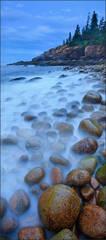 Acadia national park, Maine, cobblestones, blue, ocean, fog