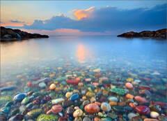 Cohasset, Massachusetts, ocean, sunset, rocks, candy