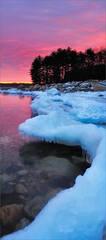 Sunrise, quabbin reservoir, pink, ice, snow, Massachusetts,
