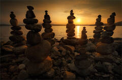 rocks, cairns, sunrise, dawn, quabbin reservoir, massachusetts, lake, stone stacking