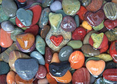 Heart rock, heart, colored
