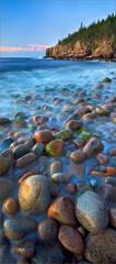 Acadia national park, Maine, cobblestones, blue, ocean, sunrise