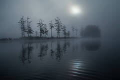 Tully Lake, Massachusetts, fog, islands, paddling, Patrick Zephyr, sunrise