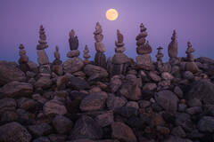 moon, super moon, quabbin reservoir, massachusetts, night, stones, cairnes, stacking, rocks, patrick zephyr
