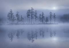 Tully Lake, Royalston, Massachusetts, fog, island, autumn, reflection, landscape photography, nature photography, Patrick Zephyr