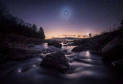 venus, night photography, Quabbin Reservior, Massachusetts, Patrick Zephyr, river