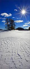 Winter, island, snow, sun, quabbin reservoir, Massachusetts,