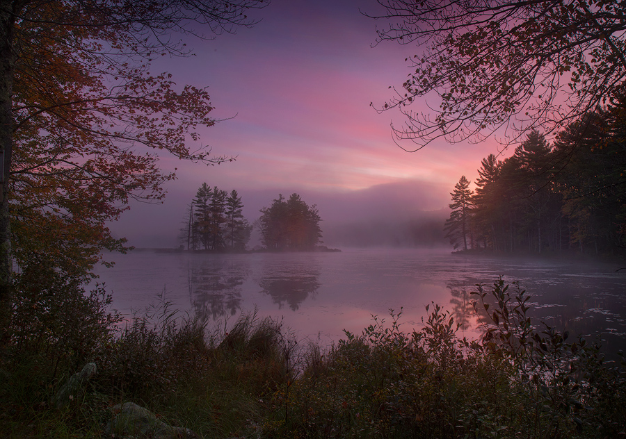 autumn, New England, sunrise, dawn, pink, Petersham, Harvard Pond, Massachusetts, Patrick Zephyr, photo