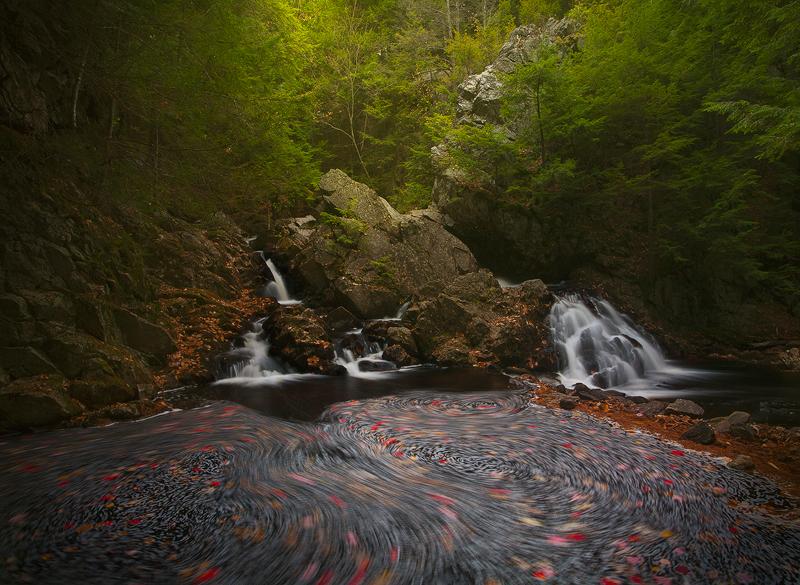 waterfall, New Salem, Massachusetts, autumn, cascade, long exposure, swirl, bear's den, , photo