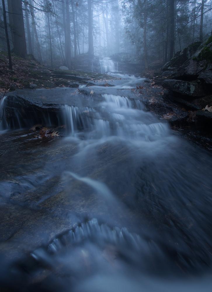 cascade, evening, blue, fog, Pelham, Massachusetts, patrick zephyr, forest, waterfall, photo