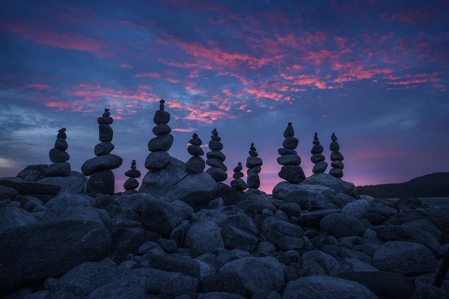 quabbin reservoir, massachusetts, cairnes, rocks, sunrise, dawn, stacking, stones, , photo