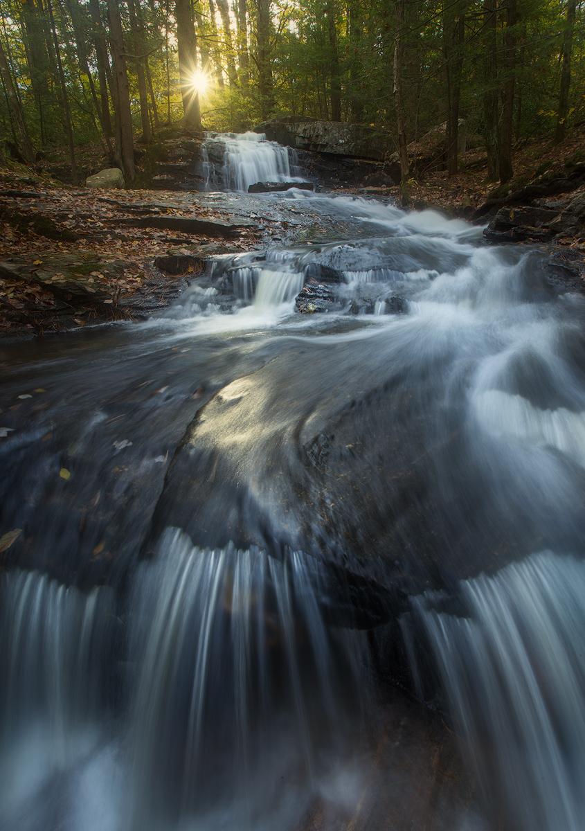 cascade, waterfall, sunrise, dawn, forest, massachusetts, pelham, patrickzephyr, photo