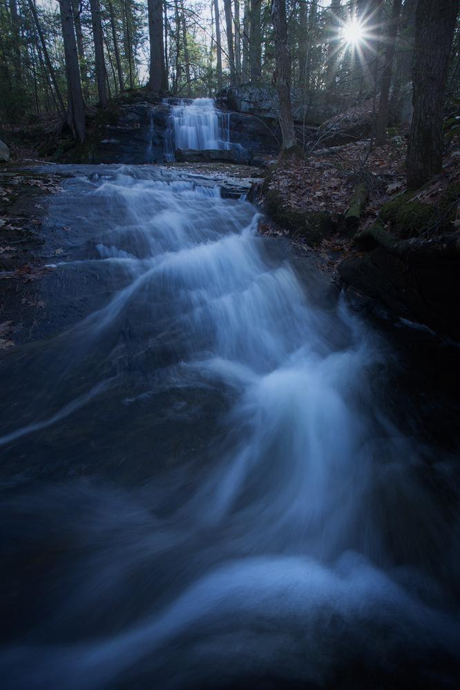 cascade, waterfall, dawn, sunrise, Pelham, Massachusetts, Patrick Zephyr, forest, photo