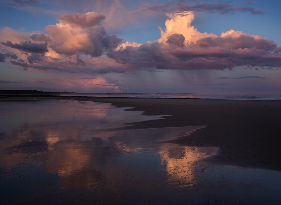 rain, sunset, wells, maine, beach, ocean, reflection, Patrick Zephyr Photography, photo