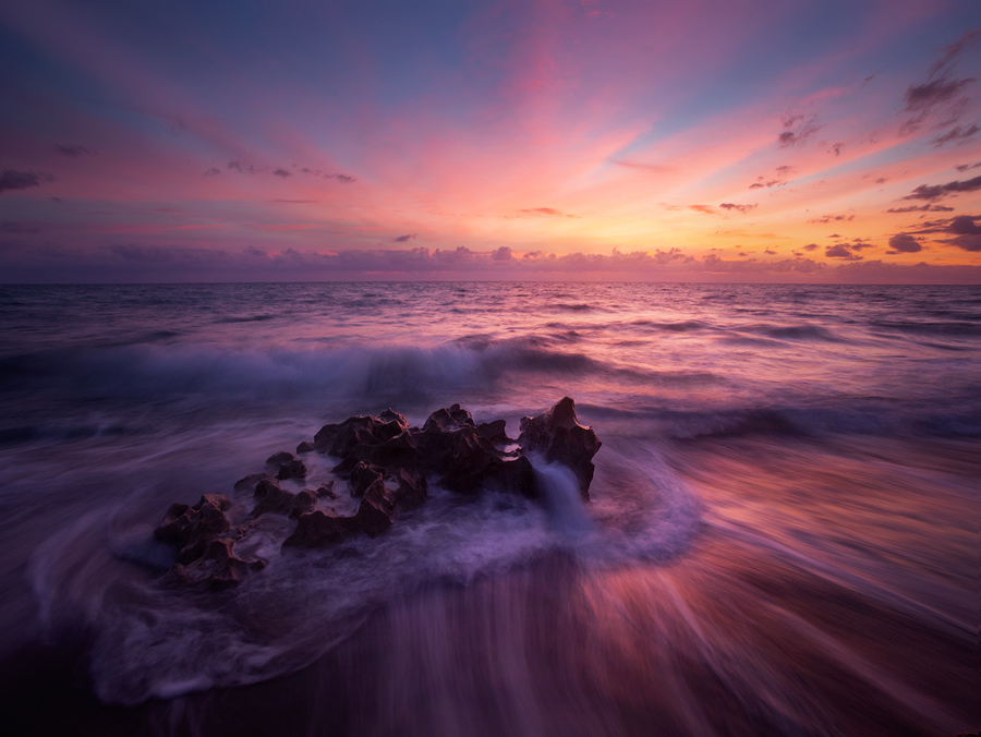sunrise, dawn, pink, waves, ocean, anastasia limestone, patrick zephyr photography, Florida, photo
