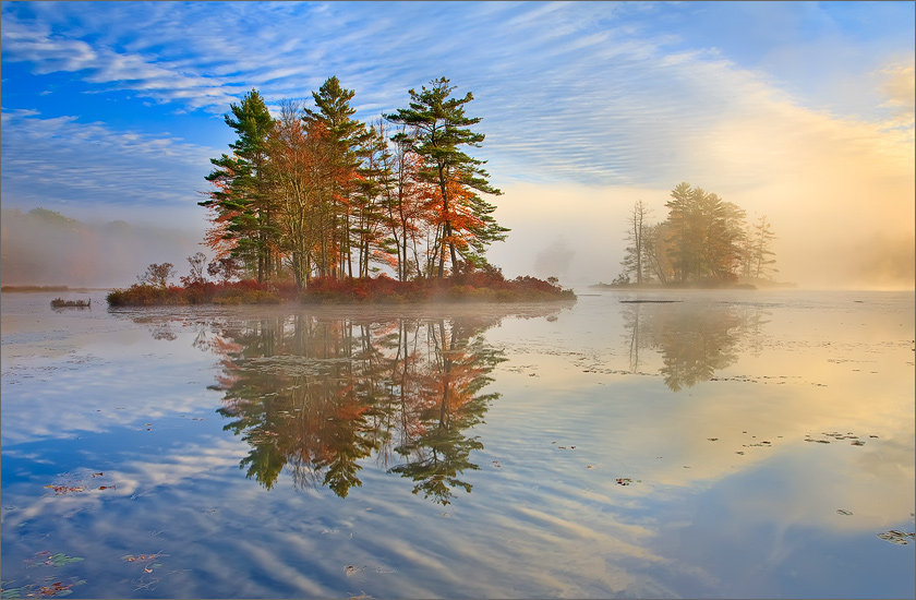 Harvard pond, petersham, Massachusetts, islands, sunrise, photo