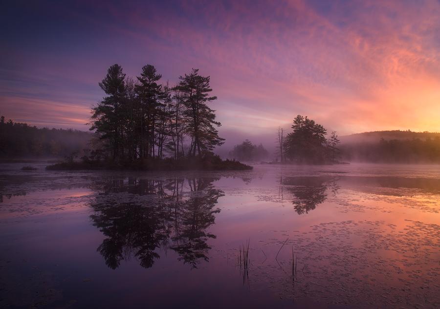 autumn, New England, sunrise, dawn, pink, Petersham, Harvard Pond, Massachusetts, Patrick Zephyr, photo