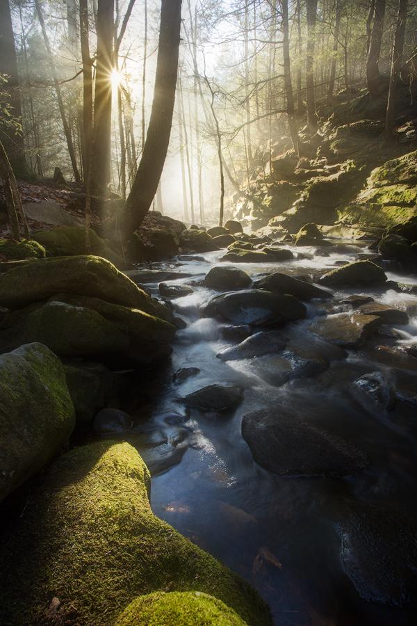 buffam falls, pelham, massachusetts, cascade, waterfall, forest, patrick zephyr, sunrise, photo