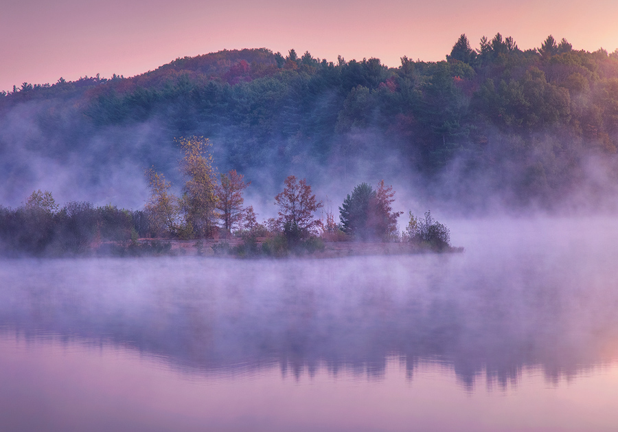 autumn, New England, sunrise, dawn, pink, Boylston, Wachusett reservoir, Massachusetts, Patrick Zephyr, photo