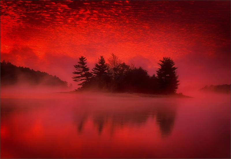 quabbin reservoir, massachusetts, sunrise, island, pink, fog, photo