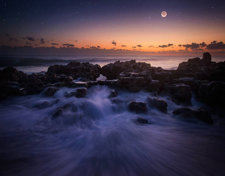 moon, crescent moon, Florida, ocean, dawn, Patrick Zephyr Photography, wave, , photo