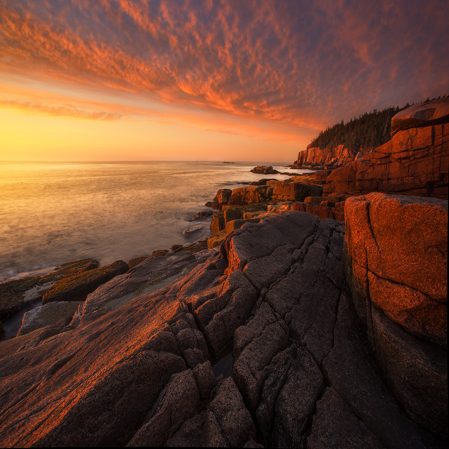Acadia National Park, sunrise, otter cliffs, park loop drive, dawn, acadia granite, Patrick Zephyr, Maine, photo