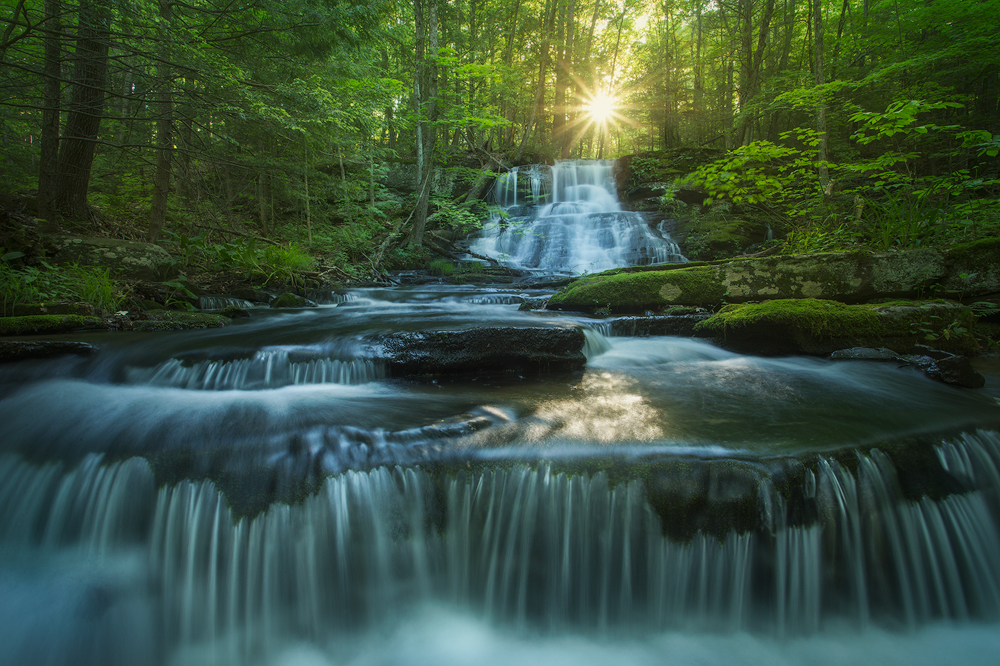 waterfall, cascade, Massachusetts, Montague, sunrise, forest, Patrick Zephyr, New England, photo