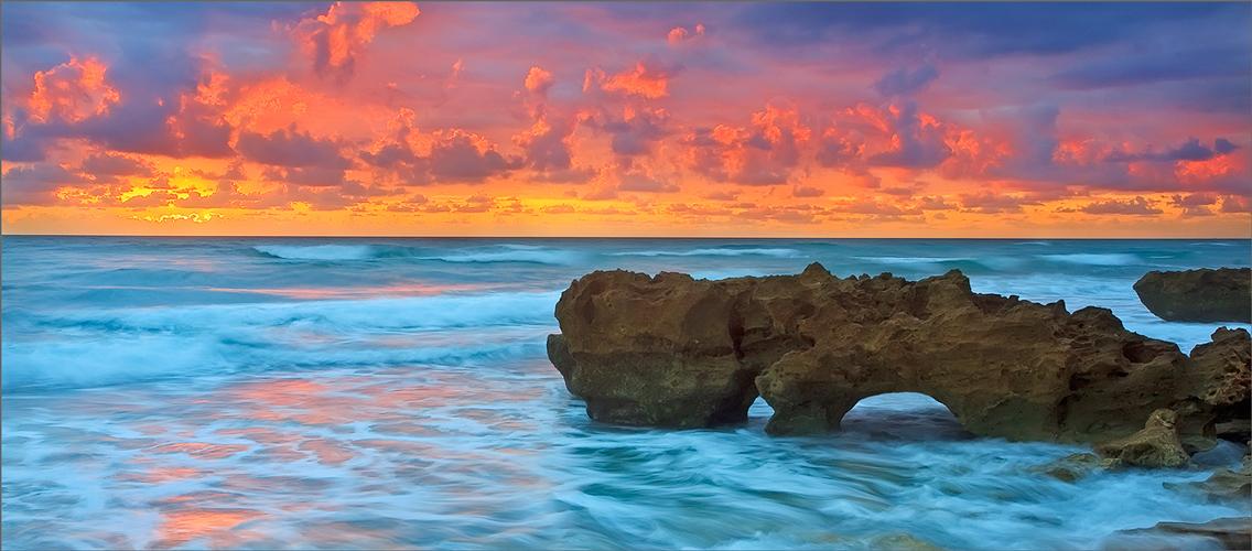 Florida, sunrise, coral cove, ocean, wave,, photo