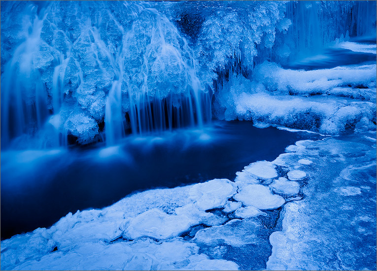 ice, winter, blue, waterfall, cascade, photo
