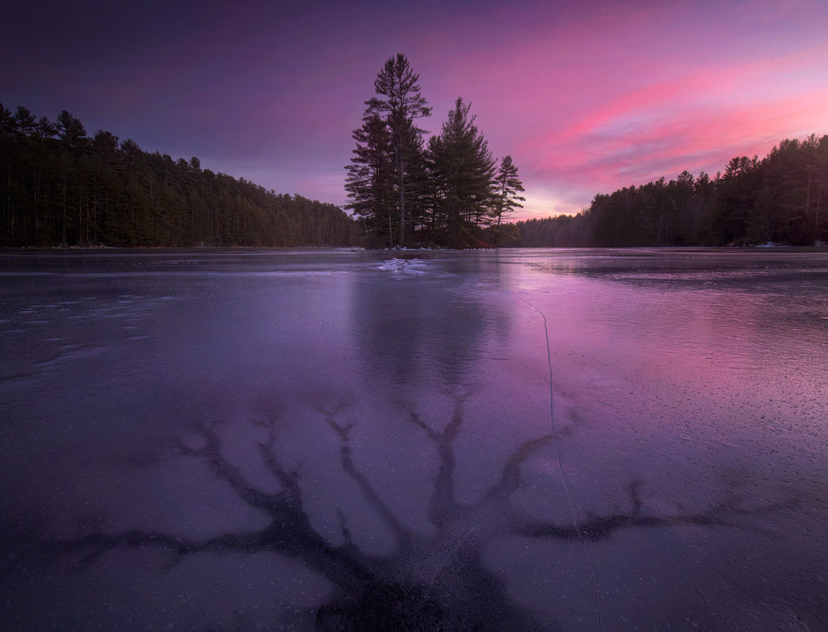 Quabbin Reservior, Massachusetts, Patrick Zephyr, Nature Photography, winter, ice, frozen, dusk, sunset, island, photo