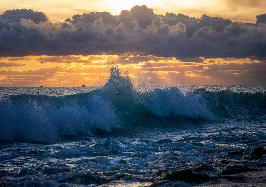 Wave, Florida, crashing, surf, sunrise, Patrick Zephyr, Coral Cove, photo