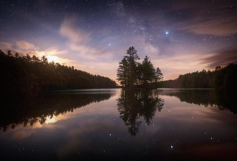 milkyway, Massachusetts, night, stars, long exposure, Patrick Zephyr, island, reflection, Quabbin Reservoir