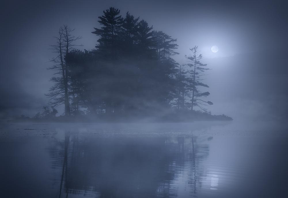 harvard pond, petersham, Massachusetts, fog, moon, Patrick Zephyr, island, photo