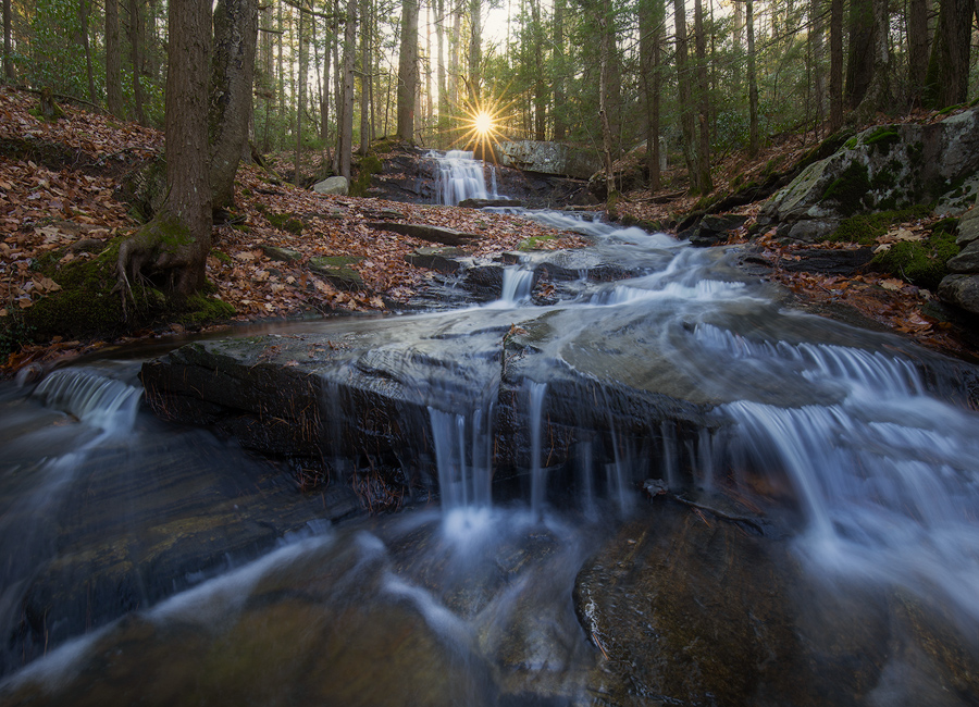 The sun rises over this cascade in November so when the morning sky is clear and the water is flowing I have to visit.