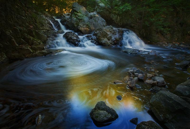 Bears den, New Salem, Massachusetts, cascade, forest, long exposure, dark, morning, rocks, waterfall, New England, photo